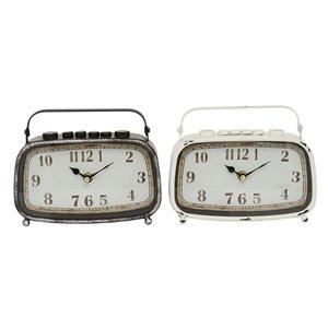 Grayson Lane Brown Analogue Rectangle Tabletop Standard Clock - Set of 2