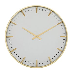 CosmoLiving by Cosmopolitan Cream White Analogue Round Wall Standard Clock