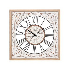 Grayson Lane White and Beige Analogue Square Wall Standard Clock