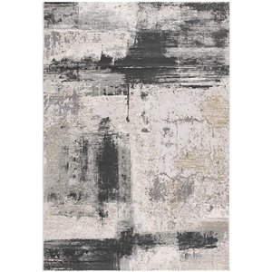 Rug Branch Silvia 2-ft x 13-ft Cream and Grey Rectangular Indoor Abstract