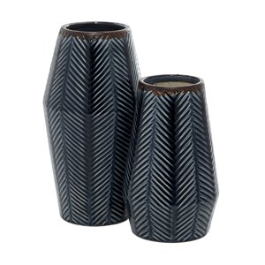 Grayson Lane Dark Blue Ceramic Vases - Set of 2