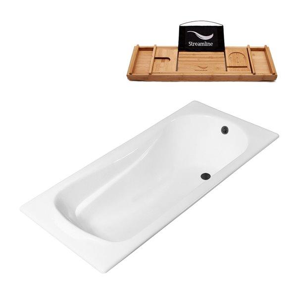 Baignoire encastrable rectangulaire blanc lustré 70,9 po L. x 31,5 po l. avec drain noir mat réversible de Streamline