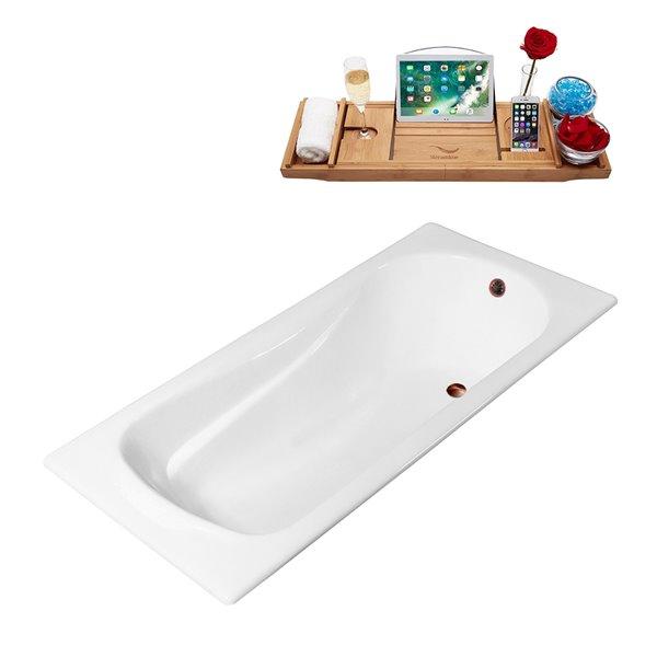 Baignoire encastrable rectangulaire blanc lustré 70,9 po L. x 31,5 po l. avec drain mat bronze huilé réversible de Streamline