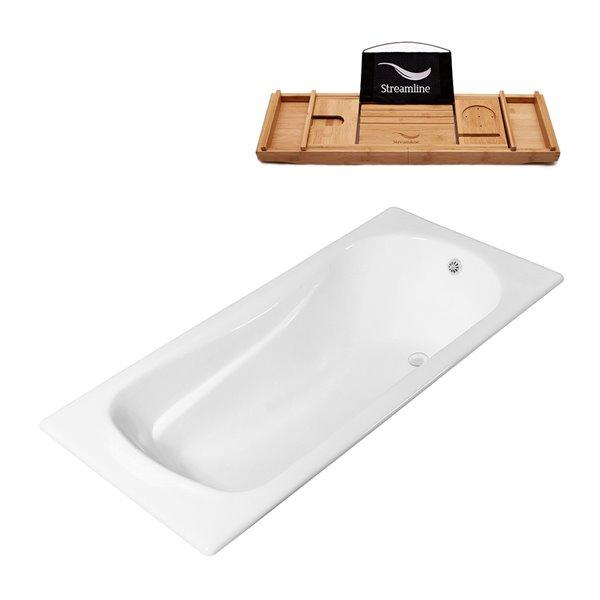 Baignoire encastrable rectangulaire blanc lustré en fer forgé 70,9 po L. x 31,5 po l. avec drain réversible de Streamline