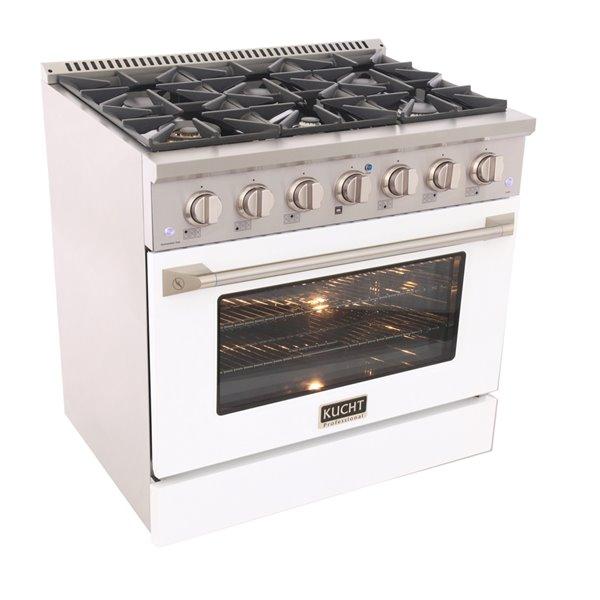 Cuisinière au gaz autoportante de 36po par KUCHT avec 6brûleurs, four à convection de 5,2pi³ et porte blanche