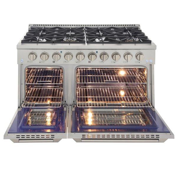 Cuisinière autoportante au gaz avec 8brûleurs de KUCHT et four à convection double, 48po, argent