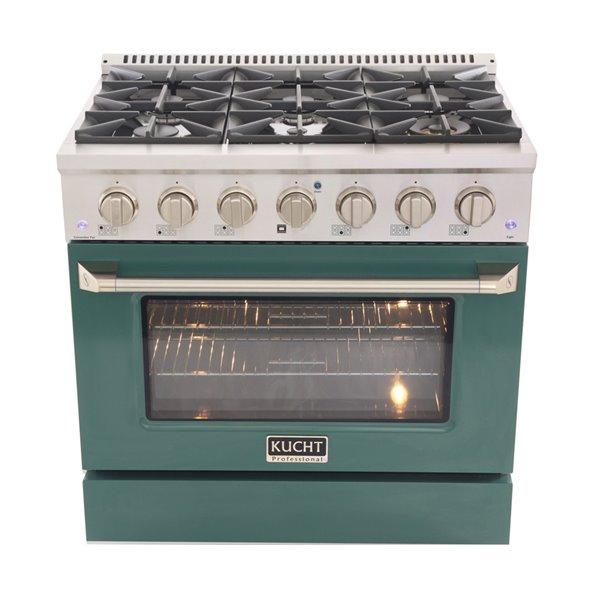 Cuisinière au gaz autoportante de 36po par KUCHT avec 6brûleurs, four à convection de 5,2pi³ et porte verte