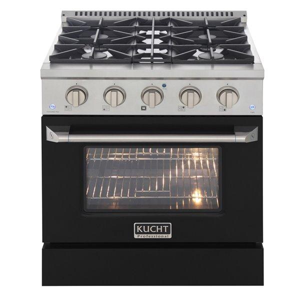 Cuisinière au gaz autoportante de 30po par KUCHT avec 4brûleurs, four à convection de 4,2pi³ et porte noire