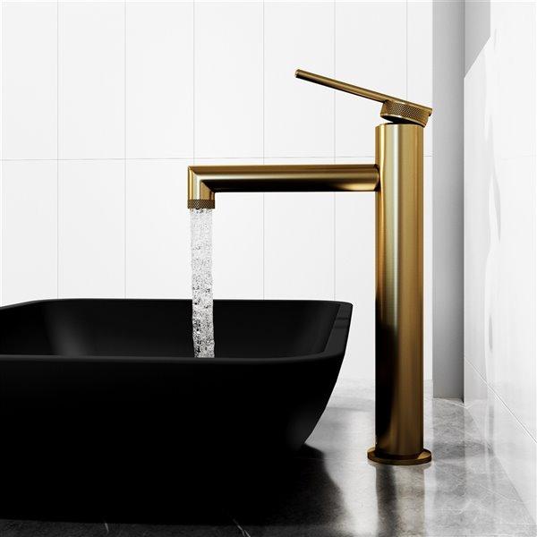 Robinet à 1 poignée pour lavabo de salle de bains Sterling de VIGO, or mat brossé