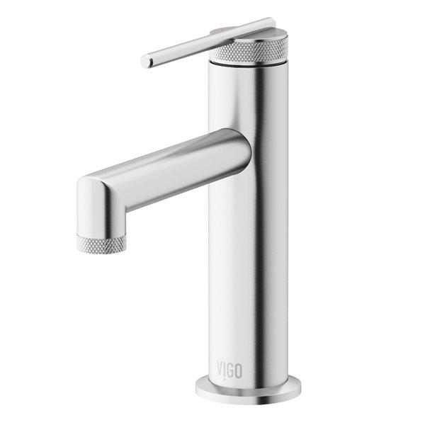 Robinet monotrou à 1 poignée pour lavabo de salle de bains Sterling de VIGO, nickel brossé