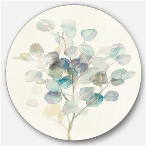 Designart 23-in x 23-in Eucalyptus leaves I Farmhouse Metal Circle Wall Art