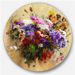 Designart 23-in x 23-in Floral Still with Bunch of Flowers Floral Metal Circle Wall Art