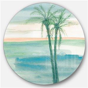 Designart 23-in x 23-in Peaceful Dusk II Tropical Nautical Metal Circle Wall Art