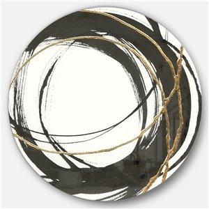Designart 23-in x 23-in Gold Glamour Circle III Geometric Metal Circle Wall Art