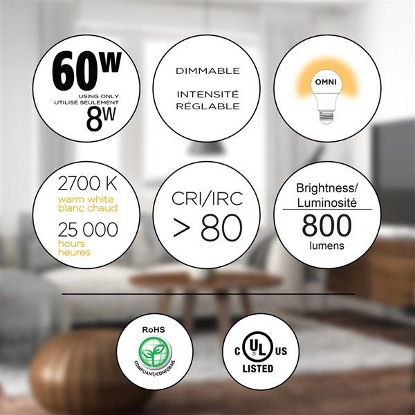 Ampoules à DEL à intensité réglable Luminus de 60 W, A19, EQ, blanc chaud, paquet de 12