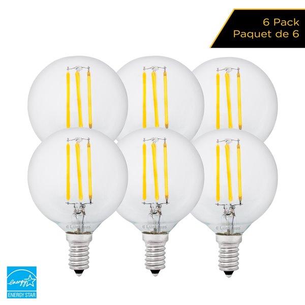 Ampoules à DEL de 40 W à intensité réglable Luminus, G16,5, EQ, blanc chaud (paquet de 6)