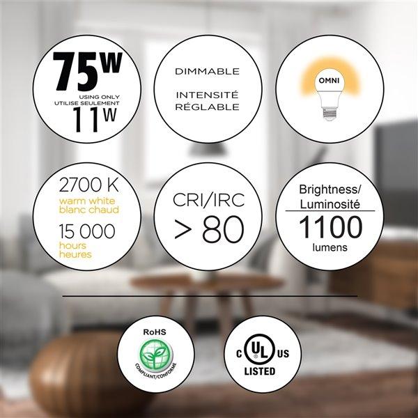 Ampoules à DEL à intensité réglable Luminus de 75 W, A19, EQ, blanc chaud, paquet de 6