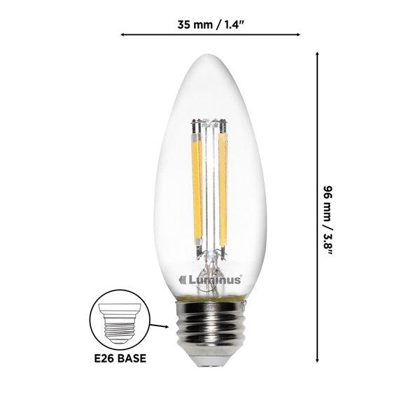 Ampoules à DEL à intensité réglable Luminus de 60 W, B10, EQ, lumière de jour, paquet de 6