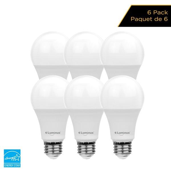 Ampoules à DEL de 60 W à intensité réglable Luminus, A19, EQ, blanc chaud (paquet de 6)