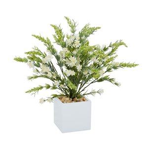 Grayson Lane 17-in x 21-in Natural Artificial Foliage - White Plastic and Ceramic