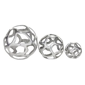 Grayson Lane Set of 3 8-in, 6-in, 4-in Silver Contemporary Orbs & Vase Filler -Aluminum