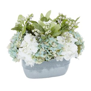 Grayson Lane 19-in x 13-in Natural Artificial Foliage - Teal Plastic and Glass