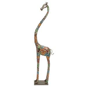 Grayson Lane 73-in x 17-in Giraffe Eclectic Sculpture - Grey Metal