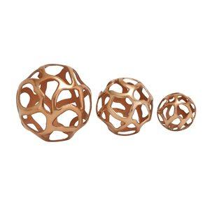 Grayson Lane Set of 3 8-in, 6-in, 4-in Copper Contemporary Orbs & Vase Filler -Aluminum