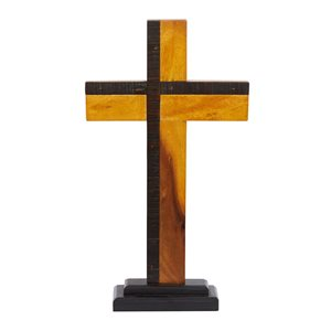 Grayson Lane 18-in x 10-in Natural Cross Sculpture - Black Wood