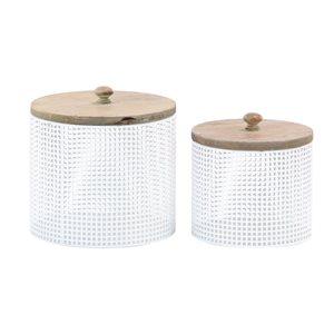 Grayson Lane Set of 2 6-in, 7-in Farmhouse Decorative Jar - White Metal