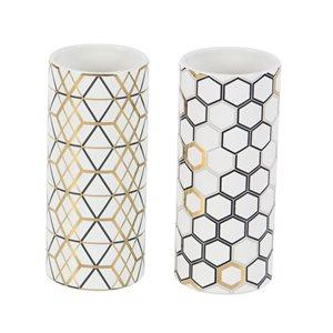 Grayson Lane Set of 2 4-in x 9-in Contemporary Vase - White Dolomite
