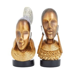 Grayson Lane Set of 2 11-in x 5-in Eclectic Sculptures - Gold Poly Stone