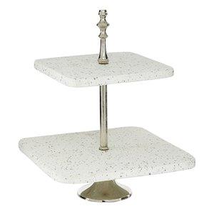 Grayson Lane 2-Tier White Stoneware Cake Stand
