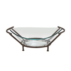 Grayson Lane Copper and Clear Glass Serving Bowl