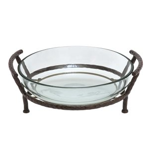 Grayson Lane Metal and Clear Glass Serving Bowl