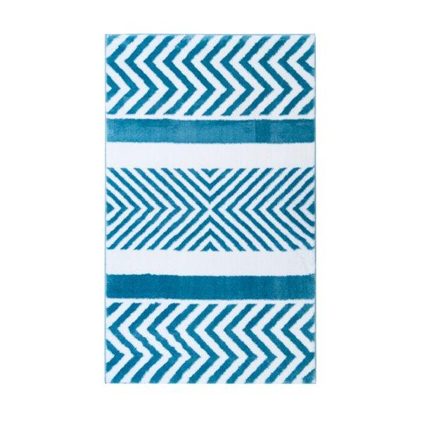 Tapis décoratif rectangulaire à chevrons Athena par Cam Living de style mi-siècle moderne, 3 pi x 5 pi, bleu