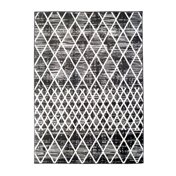 Tapis décoratif rectangulaire géométrique Jessie par Cam Living de style mi-siècle moderne, 5 pi x 7 pi, gris
