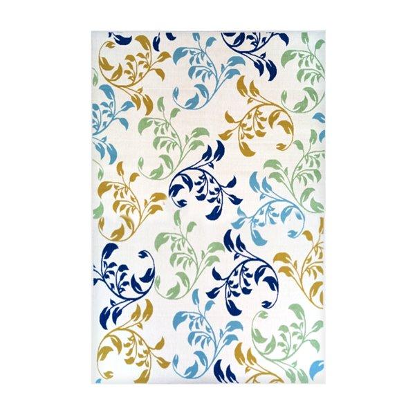 Tapis décoratif rectangulaire floral/botanique Sunset par Cam Living de style mi-siècle moderne, 6 pi x 8 pi, blanc cassé