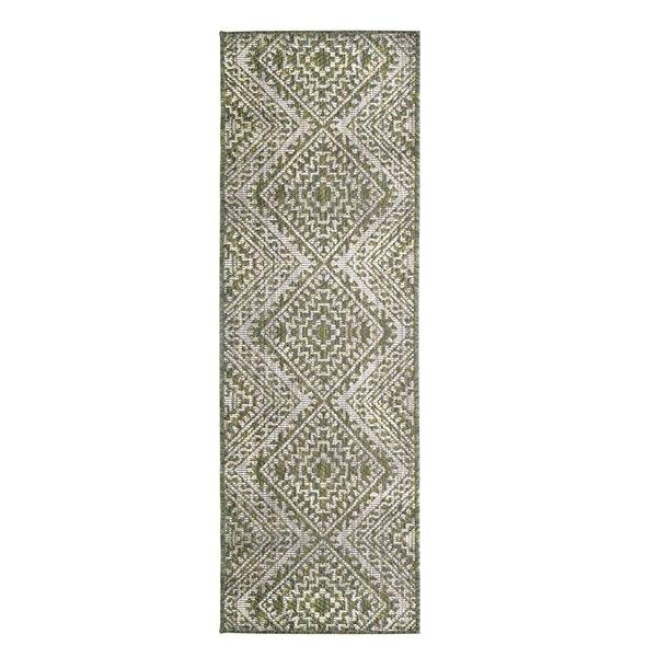 Tapis de passage rectangulaire géométrique Magnolia par Cam Living de style mi-siècle moderne, 2 pi x 6 pi, vert