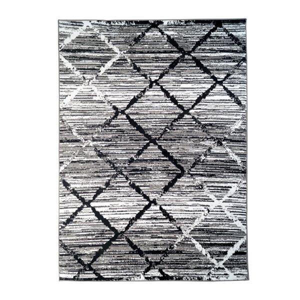 Tapis décoratif rectangulaire géométrique Amelie par Cam Living de style mi-siècle moderne, 5 pi x 7 pi, gris
