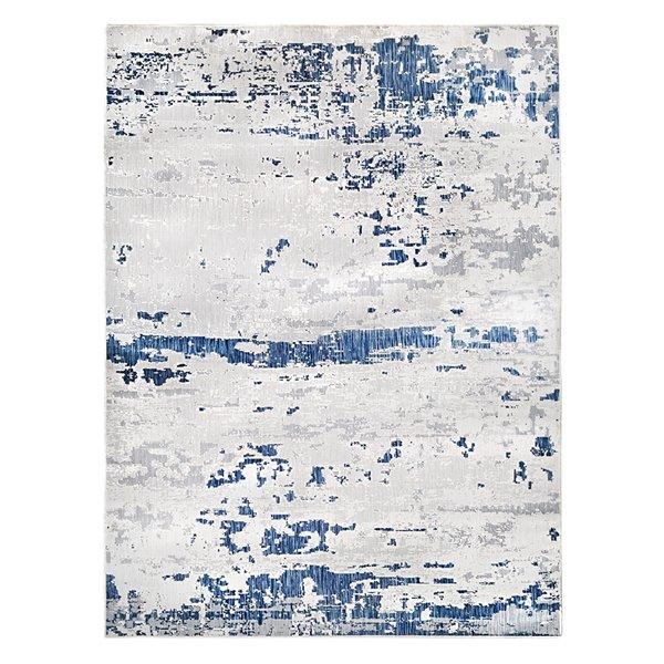 Tapis décoratif rectangulaire abstrait Magnolia par Cam Living de style mi-siècle moderne, 7 pi x 10 pi, bleu