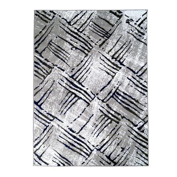 Tapis décoratif rectangulaire abstrait Amelie par Cam Living de style mi-siècle moderne, 5 pi x 7 pi, blanc