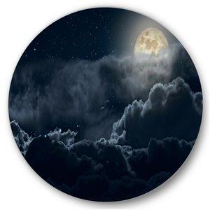 DesignArt 23-in H x 23-in W Cloudy Full Moon Night - Nautical & Coastal Metal Circle Wall Art