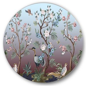 DesignArt 29-in H x 29-in W Chinoiserie with Birds and Peonies XI - Traditional Metal Circle Art