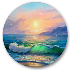 DesignArt 36-in H x 36-in W Blue Waves Breaking at The Beach V - Nautical Metal Circle Wall Art