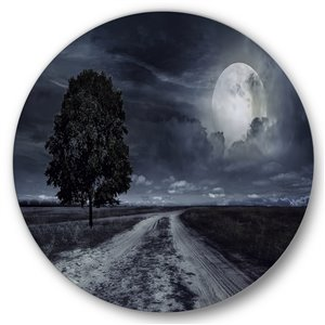 DesignArt 36-in H x 36-in W Paved Road Under A Full Moon - Nautical Metal Circle Wall Art