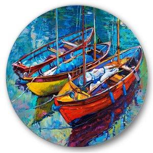 DesignArt 36-in H x 36-in W Three Boats in The Harbor - Nautical Metal Circle Wall Art