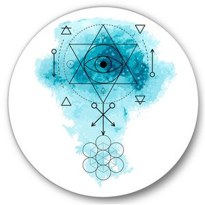 Designart 36-in x 36-in Symbol of Alchemy and Sacred Geonetry II Bohemian and Eclectic
