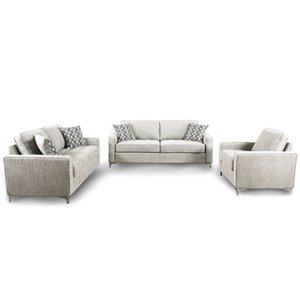 Ensemble de salon 3 pièces Hudson gris platine, par HomeTrend