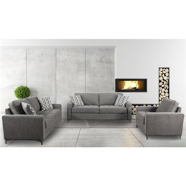 Ensemble de salon 2 pièces gris graphite Hudson, par HomeTrend